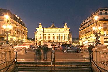 France, Paris, opera garnier at night