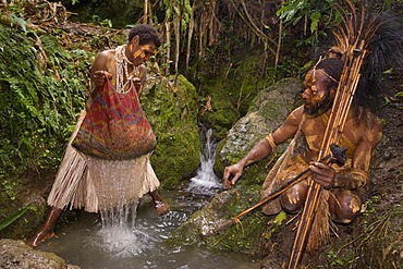 Woman washing coffee beans, Coffee plantation, Langila, Highlands, Papua New Guinea, Oceania