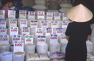 Market stand with rice, Hanoi, Vietnam