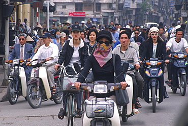 Motorbikers, rush hour, Hanoi, Vietnam