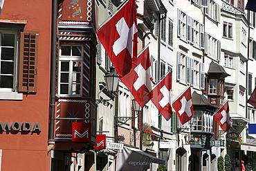 Switzerland, Zuerich, old city center, Augustinergasse, 1, august, swiss flags