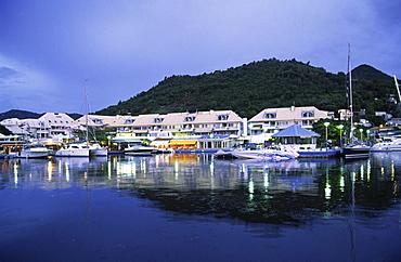 Small Antilles, Saint Martin, Marigot, Harbour at night