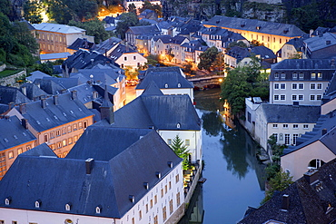 Grund district and Alzette river, Luxembourg
