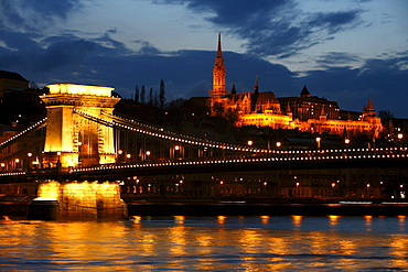 The Chain Bridge with the Matthias church in the background, Budapest, Hungary