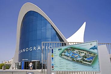 entrance L'Oceanografic, architect Felix Candela, Valencia, Spain