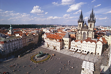 View over the old market square, historic square in the Old Town, Prague, Czech Republic