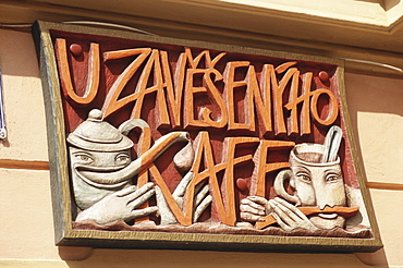 Cafe sign, Little Quarter, Prague, Czech Republic