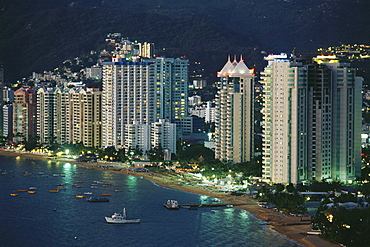 The beach and highrise buildings at Playa Icacos, Acapulco, Mexico