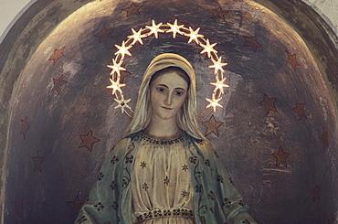 Virgin Mary with halo of stars, church, Proceno, village, Tuscany, Italy