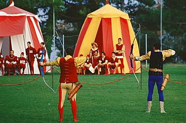 Archery competition, Sagra del Tordo, Historical Celebration, Montalcino, Tuscany, Italy