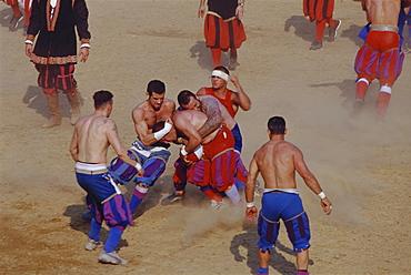 Calcio Storico Fiorentino, ball game, Piazza Santa Croce, Florence, Tuscany, Italy