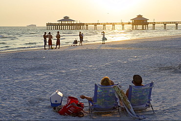 Sunset at the Pier of Fort Myers Beach, Florida, USA