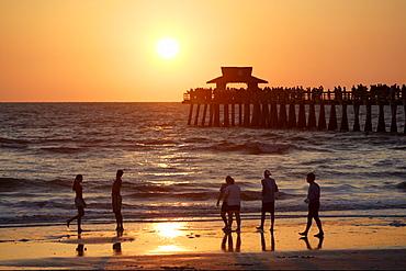 Sunset at municipal pier, Naples, Florida, USA