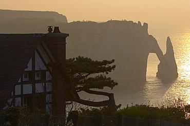 Chalk-cliffs at the coast of Etretat at sunset, dept Seine-Maritime, Normandie, France, Europe