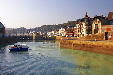 Water-front with Maison Henri IX in St. ValÈry-en-Caux, dept Seine-Maritime, Normandie, France, Europe