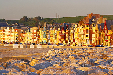 Before sunset at the promenade of Mers-les-Bains, dept Somme, Picardie-Nord, Channel, France, Europe