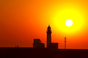 Sunset at the lighthouse of Mers-les-Bains, Channel, Picardie-Nord, dept Somme, France, Europe