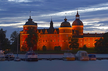 Royal castle of Gripsholm near Mariefred at the southern lakeside of the lake Maelaren