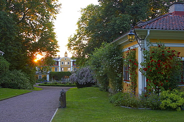 Sunset at castle of Haellekis at the lake Vaenern in Vaestergoetland, southern Sweden