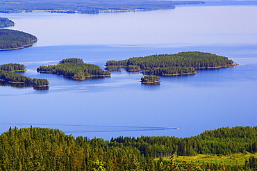 View from Hoverberget to lake Myrviken, Jaemtland, northern Sweden