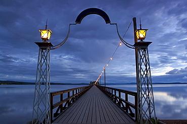 Evening at the Langbrygga 625 m long, gangplank of Raettvik at the lake Siljan, Dalarna, middle Sweden
