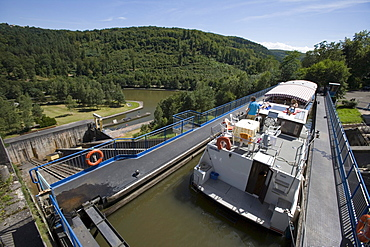 Houseboat and Tourist Boat on Arzviller Boat Lift, Saint-Louis-Arzviller Inclined Plane, Canal de la Marne au Rhin, near Arzviller, Alsace, France