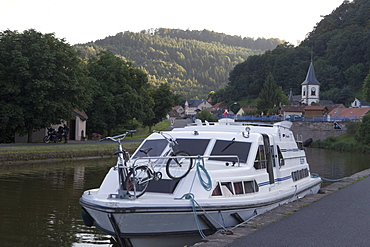 Houseboat Moored on Canal Bank, Crown Blue Line Crusader Houseboat, Canal de la Marne au Rhin, Lutzelbourg, Alsace, France