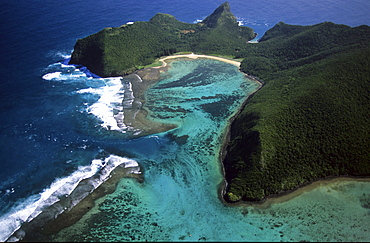 Aerial view of North Bay, North Passage and Mt. Eliza, Lord Howe Island, Australia