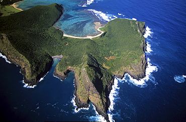 Aerial view of North Bay and Mt. Eliza, Lord Howe Island, Australia