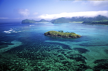 Aerial view of Lagoon and Rabbit Island, Lord Howe Island, Australia
