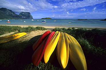 Kayaks lying on Lagoon Beach, Lord Howe Island, Australia