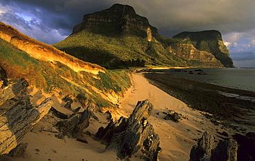 Sunset light at Salmon Beach, Lord Howe Island, Australia