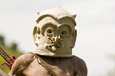 Masked face of Asaro Mudmen at Singsing Dance, Lae, Papue New Guinea, Oceania