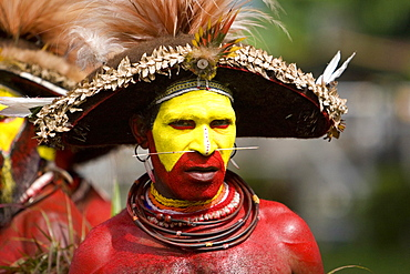 Man with facial painting at Singsing Dance, Lae, Papua New Guinea, Oceania