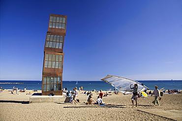 Spain Barcelona, beach, Platja de la Barceloneta, people, Sculpture by Rebecca Horn, girls sunbathing