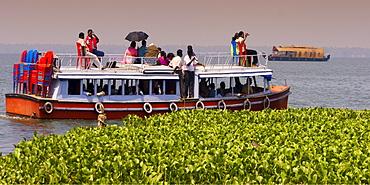 India Kerala house boat in backwater lake