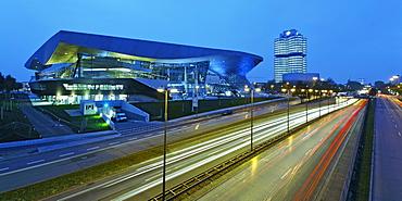 Bavaria Munich BMW World . New distribution center near BMW administration tower and BMW museum