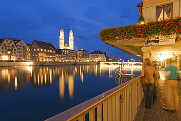 Zurich Limmat Hotel Storchen Pier background Grossmunster