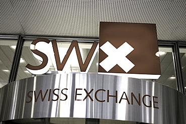 Switzerland, Zurich, stock exchange, swiss Exchange sign, entrance Schweiz, Zuerich, Boerse, Eingang, SWX