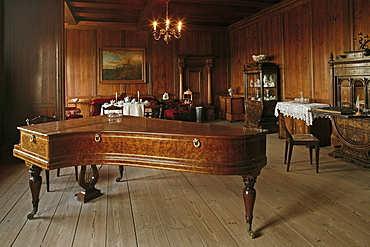 piano, salon, Burg Falkenstein, medieval castle, Harz Mountains, Saxony Anhalt, northern Germany