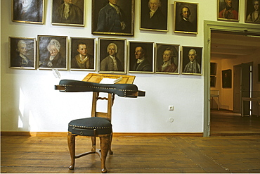 Gleimhaus, Gleim's chair for writing, portrait collection, Halberstadt, Harz Mountains, Germany