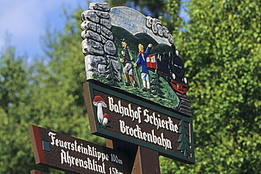 Saxony Anhalt, Germany, direction sign, hand carved, Brocken mountain, Brocken railway station