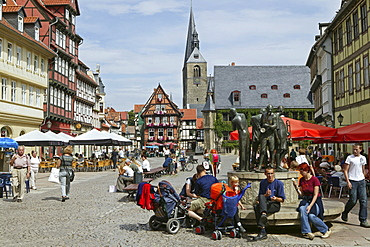 Quedlinburg, market square, town hall, Saxony Anhalt, Harz mountains, Germany