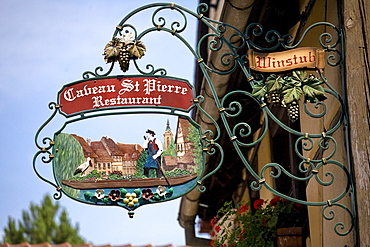 Restaurant in the old part of the town, Colmar, Alsace, France