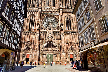 Strasbourg cathedral, Cathedral of Our Lady and Rue Merciere, Strasbourg, Alsace, France