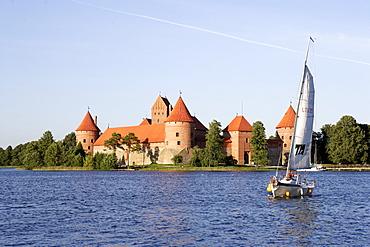 Trakai, an island castle on lake Galve, Lithuania