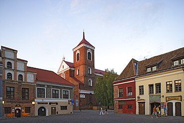Town square of Kaunas and the St. Peter and Paul cathedral, Lithuania