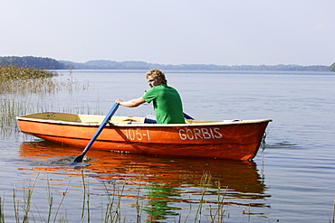 Rowing on Lake Lusis in Paluse, Aukstaitija national park, Lithuania