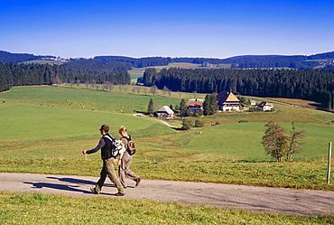 Farm near Furtwangen, two hikers in foreground, Black Forest, Baden-Wurttemberg, Germany
