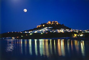 View towards Lindos at night, Rhodes Island, Dodecanese, Greece